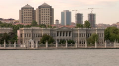 Dolmabahce palace Istanbul, Turkey from Bosporus Stock Footage