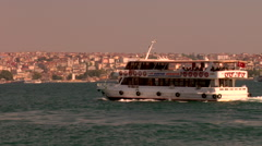 Typical water taxi, ferry and sightseeing boats on Bosphorus, Istanbul, Turkey : Stock Footage
