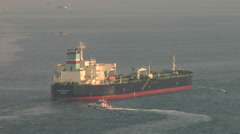 Stock Video Footage of Oil Tanker on Bosphorus heading out to sea