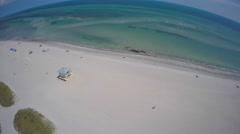 Crandon Park beaches 4k aerial video Stock Footage