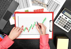 forex chart on clipboard - stock photo