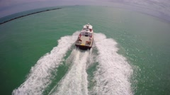 Aerial boat chase 3 Miami Beach - stock footage