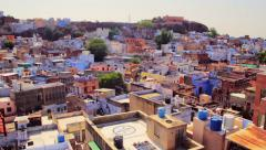 Rooftops of the blue city of Jodhpur, India - tilt shot. Stock Footage