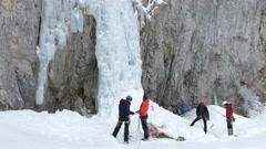 Iceclimbing icefall. Stock Footage