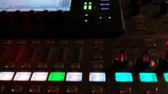 A High-End Soundboard Lights Up During a Performance Stock Footage