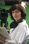 Portrait Of Floor Manager In Television Studio Kuvituskuvat