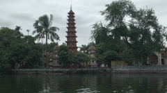 Tran Quoc Pagoda on West Lake in Hanoi Vietnam Stock Footage