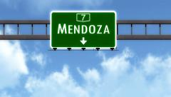 4K Passing Mendoza Argentina Highway Road Sign with Matte 2 stylized - stock footage