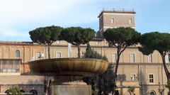 Fountain in the Courtyard of Vatican Museums. Stock Footage