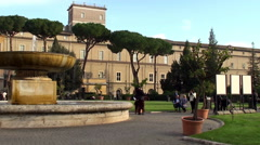 Courtyard & Pinacoteca of the Vatican Museums. Stock Footage