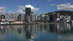 Wellington skyline from the waterfront, New Zealand Stock Footage