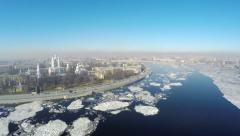 Flying over the Neva river. St. Petersburg, Russia. Spring. Stock Footage