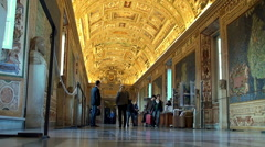 Tourists in The Gallery of Maps of the Vatican Museums. Stock Footage