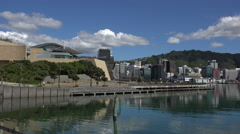 Wellington skyline and Te Papa Museum, New Zealand Stock Footage