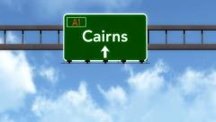 4K Passing Cairns Australia Highway Road Sign with Matte 2 stylized Stock Footage
