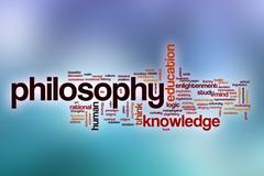 Philosophy word cloud with abstract background - stock illustration