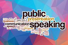 Public speaking word cloud with abstract background - stock illustration