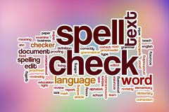 Spell check word cloud with abstract background - stock illustration