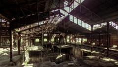 4K motion control pan interior abandoned broken factory structure Stock Footage