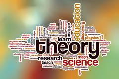 Theory word cloud with abstract background - stock illustration