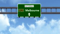 4K Passing Melbourne Australia Highway Road Sign with Matte 2 stylized Stock Footage