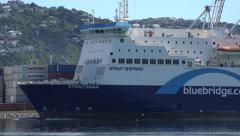 Bluebridge cook strait ferry arrives in Wellington harbour, New Zealand Stock Footage