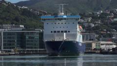Bluebridge cook strait ferry, Wellington harbour, New Zealand, zoom in Stock Footage