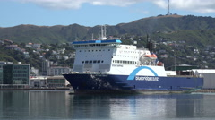Bluebridge cook strait ferry turns in Wellington harbour, New Zealand Stock Footage