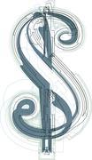 Abstract dollar symbol - stock illustration