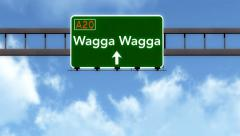4K Passing Wagga Wagga Australia Highway Road Sign with Matte 2 stylized Stock Footage