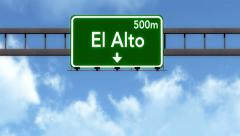 4K Passing El Alto Bolivia Highway Road Sign with Matte 2 stylized Stock Footage