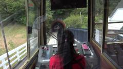 POV, Woman driver drives Wellington cable car, New Zealand Stock Footage