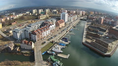 Aerial of Old Town Gdansk in Poland. - stock footage