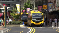 Go electric trolley buses, CBD, Wellington, New Zealand Stock Footage