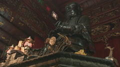 Statue inside Quan Thanh Temple in Hanoi Vietnam Stock Footage