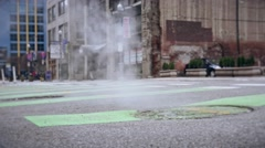 Street Man Hole Cover Steam Stock Footage
