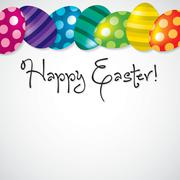 Bright Egg Happy Easter card in vector format. Stock Illustration