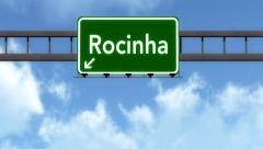 Stock Video Footage of 4K Passing Favela Rocinha Brazil Highway Road Sign with Matte 2 stylized