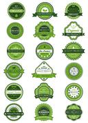 Organic or natural product labels and banners set Stock Illustration