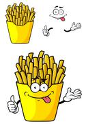 Cartooned French Fries with Happy Face and Arm Stock Illustration