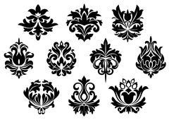 Artistic Graphic Designs of Black Floral Templates - stock illustration