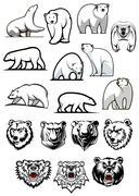 Black and white polar bear icons - stock illustration