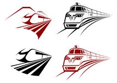 Stylized speeding train icons - stock illustration