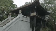 The One Pillar Pagoda (Chua Mot Cot) in Hanoi Vietnam Stock Footage