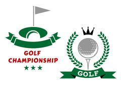 Stock Illustration of Two golfing championship emblems or badges