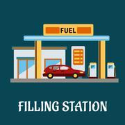 Car refueling at a Filling Station Stock Illustration