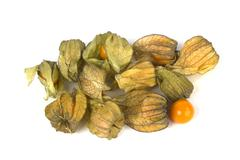 A bunch of physalis fruit on white Stock Photos