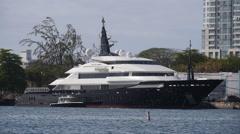 mega yacht luxury ship ALFA NERO - stock footage