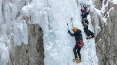 Stock Video Footage of Iceclimbing icefall.
