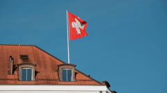 Swiss flag in slow motion Stock Footage